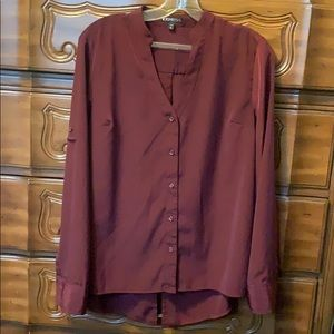 Express Maroon button up vneck